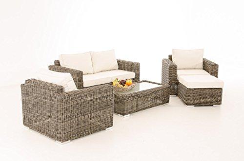 2-1-1 Gartengarnitur CP050 Sitzgruppe Lounge-Garnitur Poly-Rattan ~ Kissen cremeweiß, grau-meliert