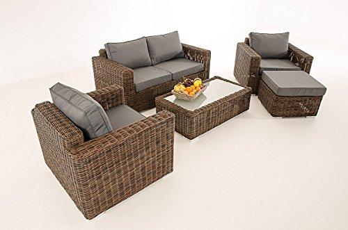 2-1-1 Gartengarnitur CP050 Sitzgruppe Lounge-Garnitur Poly-Rattan ~ Kissen eisengrau, braun-meliert