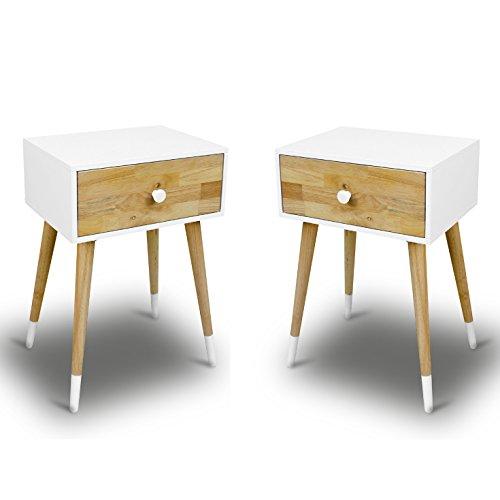 2 nachtschr nke nachttische wei nachtkommoden nachtschr nkchen schublade retro m bel24. Black Bedroom Furniture Sets. Home Design Ideas