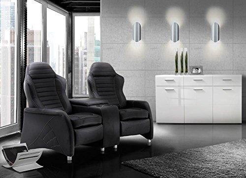 2 Sitzer Kinosessel, Cinema - Relax Sofa, Heimkino Sessel, TV Sofa, Relaxcouch, Home Cinema, Kunstleder schwarz, verstellbar, Liegefunktion