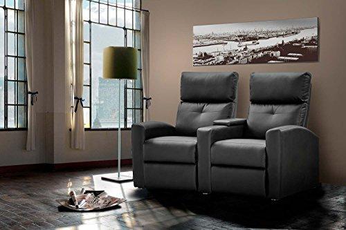 2 Sitzer Kinosessel, Kunstleder schwarz , Cinema - Relax Sofa, Heimkino Sessel, TV Sofa, Relaxcouch, Home Cinema, Fernsehsessel, verstellbar
