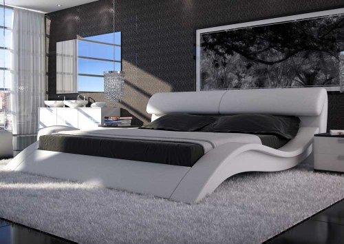 SAM® Polsterbett Allure in Weiß 180 x 200 cm geschwungene Seitenteile Kopfteil aufklappbar modernes Design Wasserbett geeignet Bett