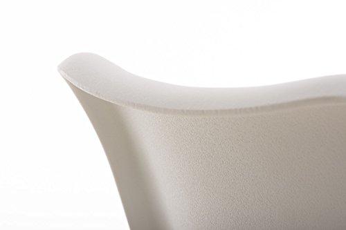 CLP Design Retro Stuhl PEGLEG SQUARE, Rückenlehne Kunststoff, Sitz gepolstert Kunstleder-Bezug, Sitzhöhe 46 cm Weiß, Holzgestell Farbe natura, Bein-Form eckig