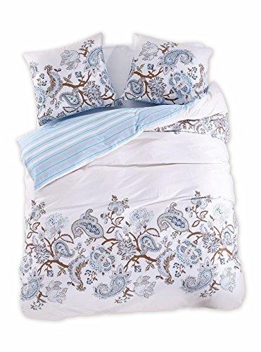 200x200 cm Bettwäsche mit 2 Kissenbezügen 80x80 Renforcé Bettwäscheset Bettbezüge 100% Baumwolle Bettwäschegarnituren Reißverschluss Diamond Collection Bordure blau hellblau creme ecru braun