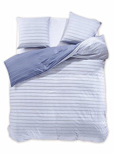200x200 cm Bettwäsche mit 2 Kissenbezügen 80x80 Renforcé Bettwäscheset Bettbezüge 100% Baumwolle Bettwäschegarnituren Reißverschluss Diamond Collection Cabin grau hellgrau