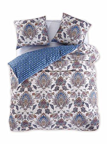 200x200 cm Bettwäsche mit 2 Kissenbezügen 80x80 Renforcé Bettwäscheset Bettbezüge 100% Baumwolle Bettwäschegarnituren Reißverschluss Diamond Collection King Edward beige blau dunkelblau rot gelb