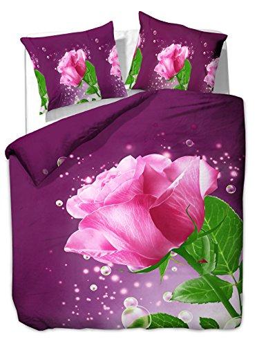 200x220 cm Bettwäsche mit 2 Kissenbezügen 80x80 3D Bettwäscheset Bettbezüge Microfaser Bettwäschegarnituren Reißverschluss Blume Blumen Blumenmuster Emotion violett lila rosa grün