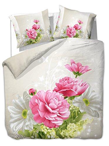 200x220 cm Bettwäsche mit 2 Kissenbezügen 80x80 3D Bettwäscheset Bettbezüge Microfaser Bettwäschegarnituren Reißverschluss Blume Blumen Blumenmuster Pure creme weiß ecru