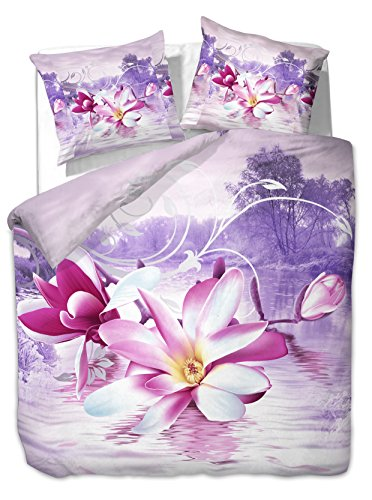 200x220 cm Bettwäsche mit 2 Kissenbezügen 80x80 3D Bettwäscheset Bettbezüge Microfaser Bettwäschegarnituren Reißverschluss Blume Blumen Blumenmuster Sensation lila weiß rosa