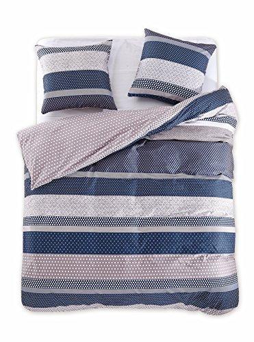 200x220 cm Bettwäsche mit 2 Kissenbezügen 80x80 Renforcé Bettwäscheset Bettbezüge 100% Baumwolle Bettwäschegarnituren Reißverschluss Diamond Collection Boris beige blau dunkelblau
