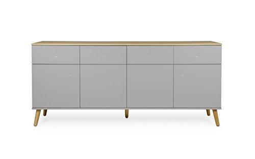 Tenzo 1678-612 Dot Designer Sideboard Holz, grau / eiche, 43 x 192 x 86 cm