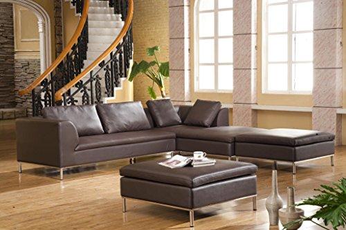 Voll-Leder Ecksofa-Sofa-Garnitur-Eckgruppe Ledermöbel Ledersofas Couch 299-R2H-braun