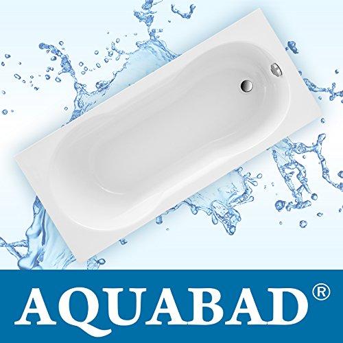 AQUABAD® Badewanne PRIMO 170x75 cm, Acrylwanne Weiss Set inkl. Träger und Viega Ablauf