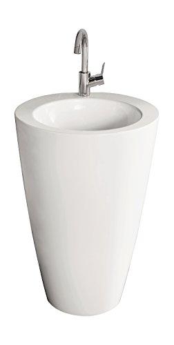 AquaSu Säulen-Waschplatz litO | Mineralguss | Durchmesser 52,5 cm | Weiß | Waschbecken | Standwaschbecken | Waschtisch | Standwaschtisch