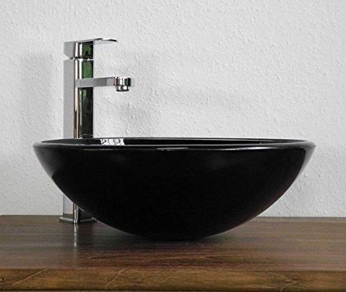 Art-of-Baan® - Design Waschbecken Glas, 42x42x14 cm, Waschschale schwarz; B-Ware (061)