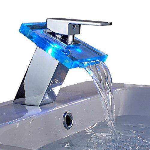Auralum® Elegamt LED RGB Glass Wasserhahn Armatur Chrom Wasserfall Waschtisch Waschtischarmatur für Bad Badezimmer Küchen 3 Farben