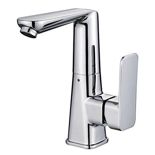 Auralum® Elegant Hochwertig Chrom Einhebel- Mischbatterie Verchromt Wasserhahn Armatur Waschtischarmatur Chrom Wasserfall Einhandmischer für Bad Badezimmer Waschbecken