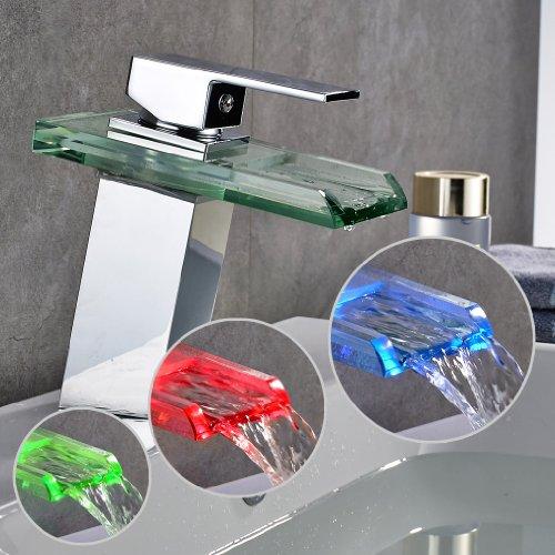 Auralum® LED RGB 3 Farbewechsel Glass Wasserhahn Chrom Wasserfall Waschtischarmatur Armatur für Bad Badenzimmer Waschbecken