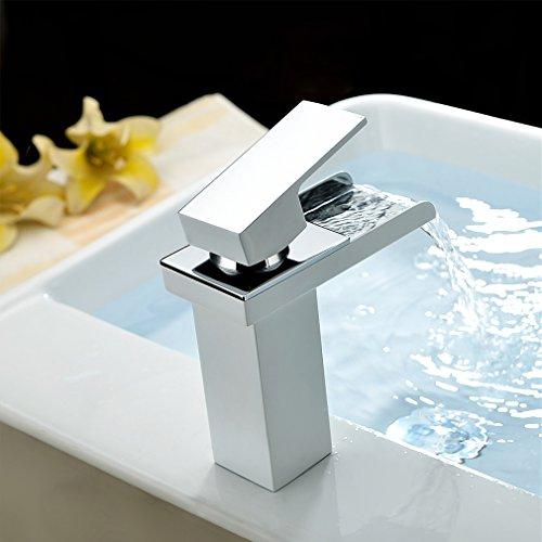 Auralum® Weiß Einhebel Mischbatterie Kupfer Waschtischarmatur Armatur Wasserhahn Badarmaturen Spüle Küche Bad