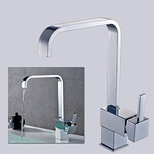 Auralum® Zeitgenössig 360° Schwenkbar Küchenarmatur Mischbatterie für Kalt- Heißwasser Einhebelmischer Armatur Wasserhahn Waschtisch für Waschbecken Spüle Küchen Bad