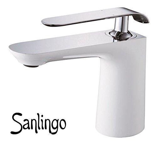 Bad Waschbecken Design Einhebel Armatur Wasserhahn Weiss Weiß Chrom Sanlingo