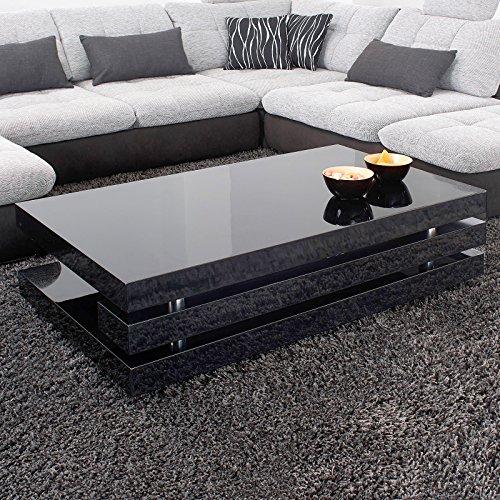 Couchtisch ANCONA 120x70cm Hochglanz Lack Tisch Schwarz Loungetisch Beistelltisch