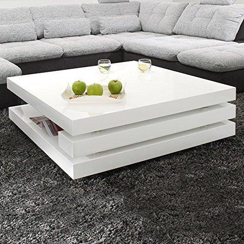 Couchtisch PIAZZA 100x100cm Hochglanz Lack Tisch Weiss Loungetisch Beistelltisch