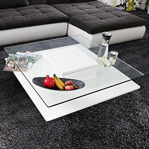 Couchtisch PORTO Hochglanz Lack Glastisch Loungetisch Beistelltisch Quadratisch Weiss Wohnzimmertisch
