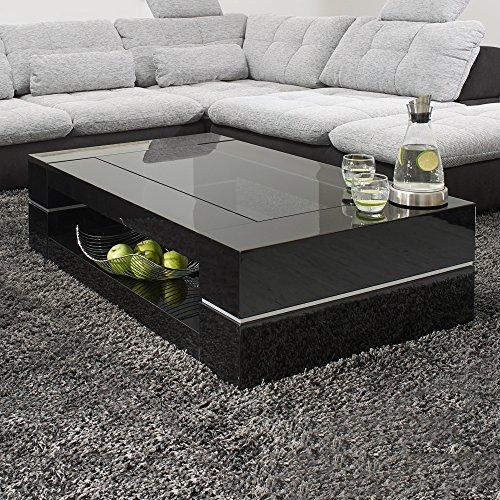 Couchtisch SERA 120x70 cm Glastisch Hochglanz Lack Schwarz Loungetisch Beistelltisch