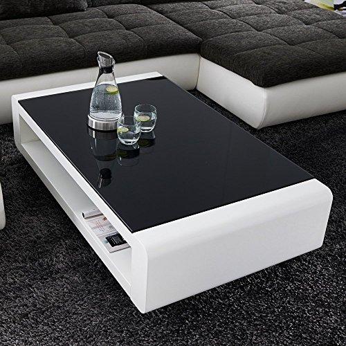Couchtisch SOLEIL 120x70cm Schwarzglas Weiß Hochglanz Lack Design Tisch Loungetisch