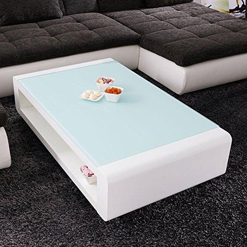 Couchtisch Soleil 120x70cm Glastisch Hochglanz Lack Tisch Weiss Loungetisch Beistelltisch