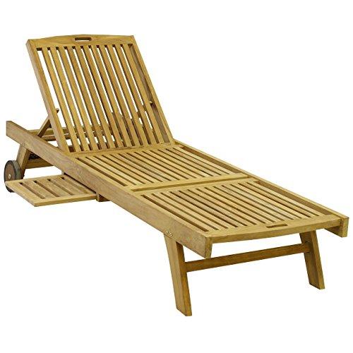 DIVERO GL05650  Sonnenliege Gartenliege Relaxliege Liege Holzliege Teak Holz mit Tablett für Garten Terrasse Balkon Sauna witterungsbeständig behandelt massiv natur