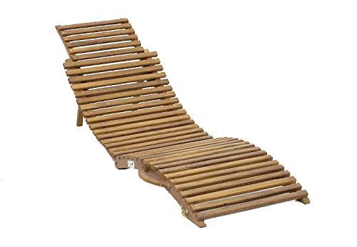 DIVERO Sonnenliege Faltliege Strandliege aus Teak Holz faltbar