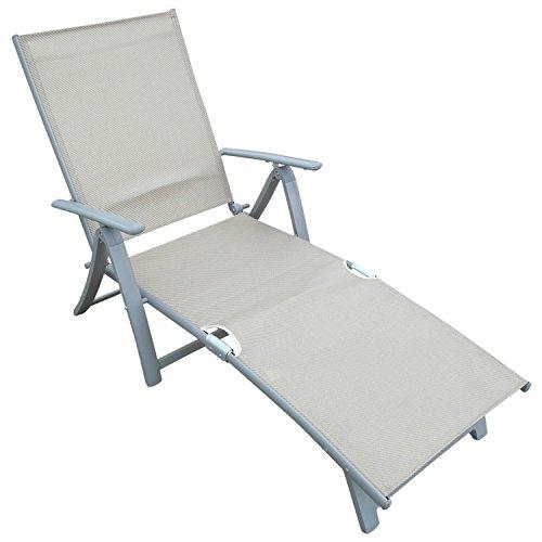 Deckchair Sonnenliege aus Alu + Textilgewebe, champagnerfarben