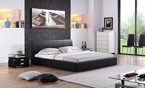 Designer Polsterbett Bett MONACO Doppelbett 3 Farben & 3 Größen zur Auswahl (160x200, schwarz)