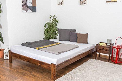 Doppelbett / Gästebett Kiefer Vollholz massiv Nussfarben A10, inkl. Lattenrost - Abmessung 160 x 200 cm