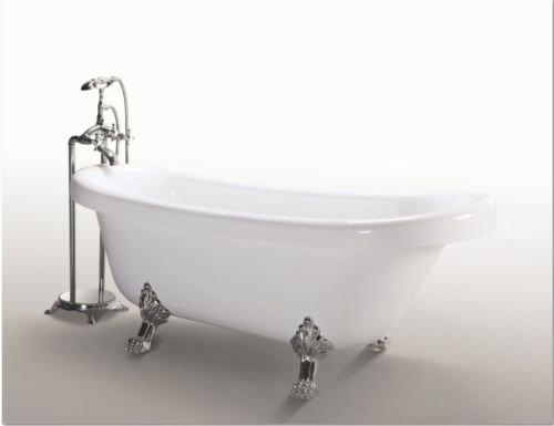Freistehende Badewanne Acryl Antik Nostalgie Standarmatur Silber Badezimmer