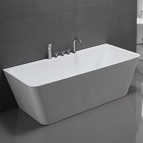 Freistehende Badewanne Sylt 170x80cm Sanitäracryl Weiß Modern Inklusive Armatur