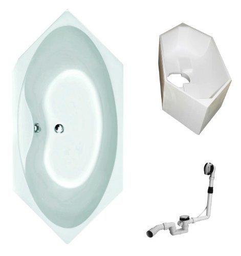Galdem-Badewannen-Set-GABWSET133PT-190-x-90-cm-hochwertiges-Wannen-komplett-SET-bestehend-aus-einer-sechseck-Acryl-Design-Badewanne-Wannentrger-aus-Styropor-so-0