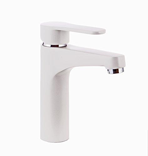 Grünblatt Weiß Waschtischarmatur mit Exzentergarnitur aus Messing Einhebelmischer Wasserhahn Badarmaturen armaturen Waschtischarmaturen