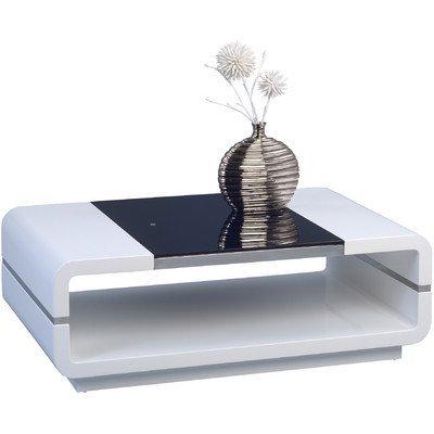 HomeTrends4You 208050 Couchtisch, 100 x 35 x 60 cm, weiß Hochglanz / Glaseinlage schwarz