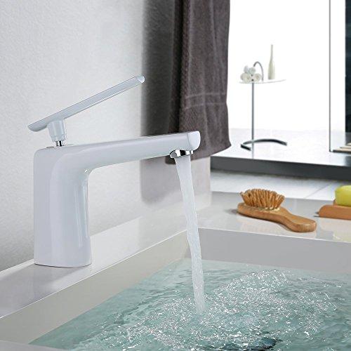 Homelody® DVGW Authentifizieren Weiß Wasserhahn Waschtischbatterie Armaturen Bad Badzimmer Waschtisch EinhandmischerMischbatterie
