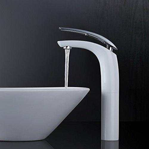 Homelody® Hohe Weiss+Chrom Wasserhahn Bad Waschbecken ElegantArmatur für Badzimmer Waschtisch Einhebelmischer Mischbatterie