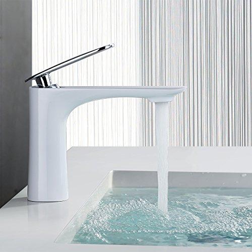 Homelody® Messing Weiß Wasserhahn Einhebelmischer Mischbatterie Armatur bad Waschbecken Waschtisch Waschbeckenarmatur BadarmaturWaschtischarmatur f.Badzimmer [Energieklasse A++]