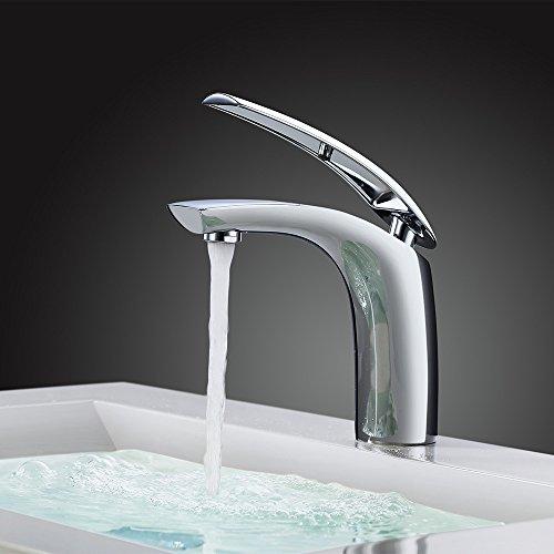 Homelody® VerchromtWasserhahn Armatur Bad Waschbecken Waschtischarmatur Waschtischbatterie Mischbatterie Badzimmer