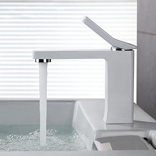 Homelody® weiß Mischbatterie Waschbeckenarmatur Waschtischarmatur Wasserhahn Armatur Badarmatur Waschtisch Waschbecken DVGW Authentifizieren