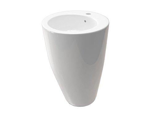 Kerabad Keramik Standwaschbecken Waschtisch Waschsäule Säulenwaschbecken weiß glänzend KBE1