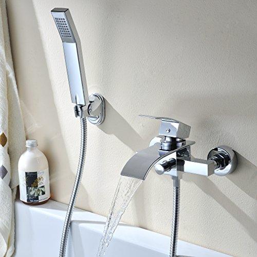 Kinse® Elegant Zeitgenössische Chrom Armatur Wasserfall Badewanne Wasserhahn inkl. Wandhalterung mit Handbrause für Bad Badezimmer