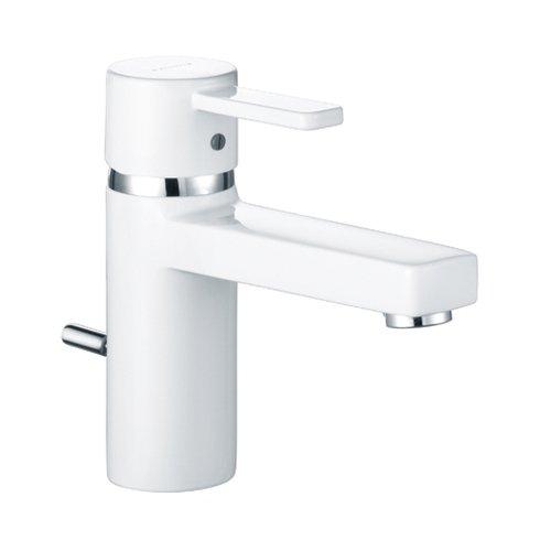 Kludi Waschtisch-Einhebelmischer Zenta mit Garnitur, flexible Anschluss, verchromt /weiß, 382609175