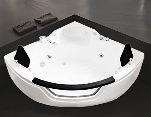 "Luxus4Home Designerwhirlpool ""Kopenhagen ECO 3838"" kompakter Eckwhirlpool mit Fenster für 2 Personen 140 x 140 cm"